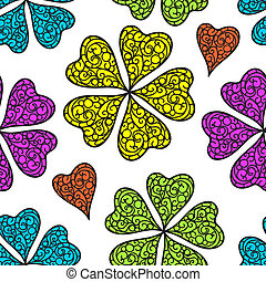 Vector flourish seamless pattern - Vector colorful flourish...