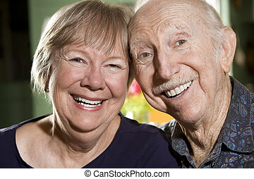 Portrait of Senior Couple - Close Up Portrait of Senior...