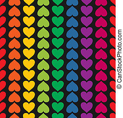 Vector seamless pattern with hearts colored like rainbow