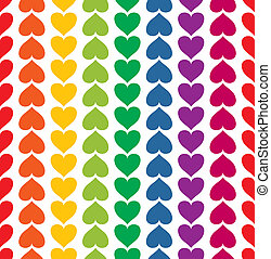 Vector seamless pattern with hearts colored like rainbow -...