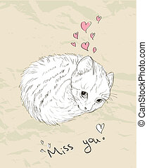 Vintage love card with kitten. Vector illustratin EPS8