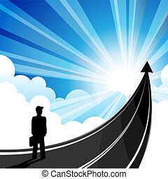 Road success - Business man with the arrow must travel to...