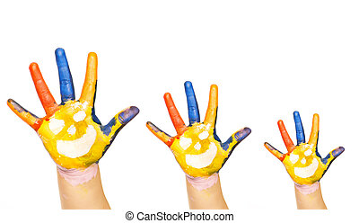 Family concept. Three colorful hands with smiling face of...