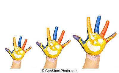 famille, concept, Trois, coloré, mains, Sourire,...