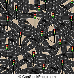 road - Route to chaos. Filled with traffic lights.