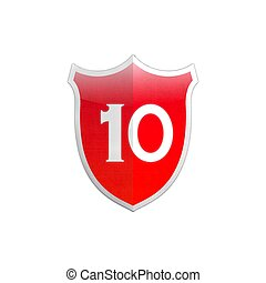 Secure shield number 10 - Illustration with number 10 secure...
