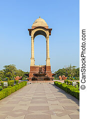 empty canopy of George V at India Gate, New Delhi, India