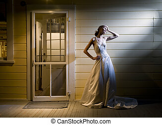 Bride on Back Porch - Tall Young Bride Alone on Back Porch