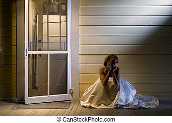 Bride on Back Porch - Young Bride Sitting Alone on Back...