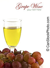 A glass of white wine and grapes on white background with...