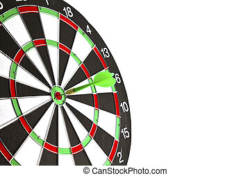 Dartboard with dart on white background.