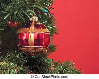 christmas balls over the christmas tree
