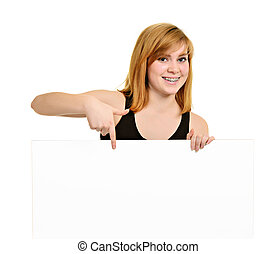 Young girl with brackets and white billboard - Young girl...