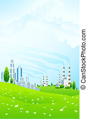 Green Landscape with City and Power Plant