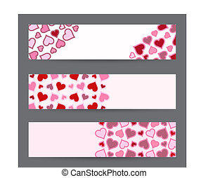 Collection of three banners with hearts. Valentine's Day card template in vector.