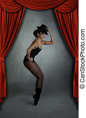 Modern Jazz Dancer Posing on Stage - Modern Jazz Dancer...