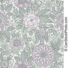 Picturesque seamless pattern in soft colors - Floral vector...