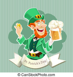 Cute Leprechaun with a beer