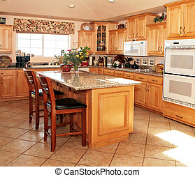 Bright Casual Modern Kitchen With Wooden Cabinets and...