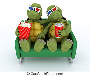 tortoises watching a 3D Movie - 3D render of a tortoises...