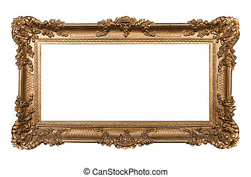 Baroque Ornamental Isolated Frame on White - Elaborate...