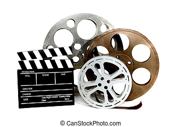 Movie Production Clapper and Film Tins on White - Film...