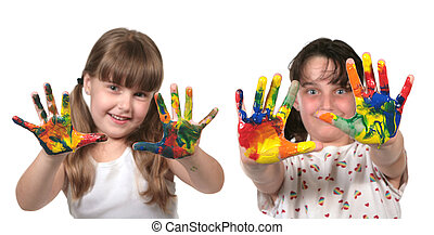 feliz, escuela, niños, Pintura, con, Manos