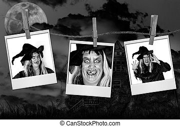 Scary Pictures of a Witch on Polaroids With Haunted House...