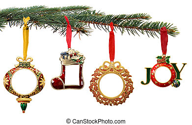 Hand Painted Christmas Ornaments Hanging on a Tree Branch -...