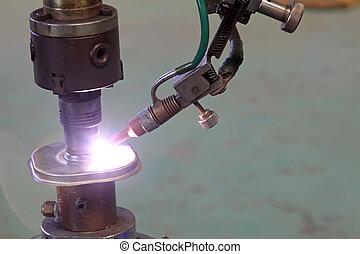 argon arc welding, Inert gas shielded arc welding in a...