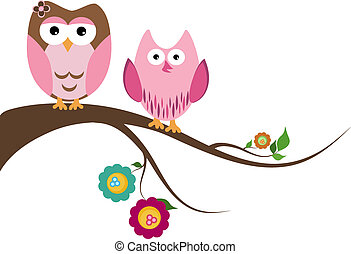 Couple owls - Two beautiful owls sitting on the tree branch