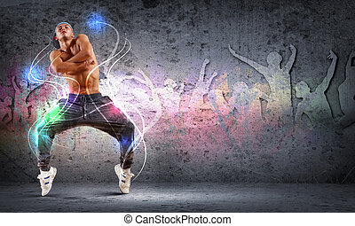young man dancing hip hop with color lines - young man in a...