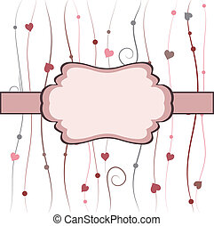 Vintage frame with hearts