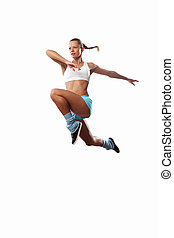 Image of sport woman jumping - Image of sport girl in jump...