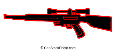 black and red sniper - Vector design of black and red sniper