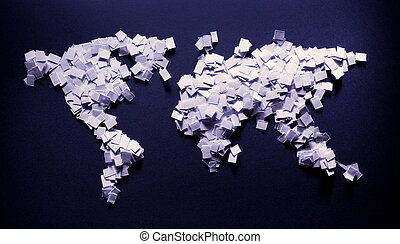 Earth of papers - Earth map made of papers, some kind of...