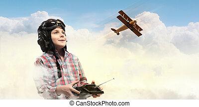 Little boy in pilot's hat - Image of little boy in pilots...