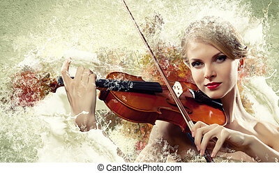 Gorgeous woman playing on violin - Image of beautiful female...