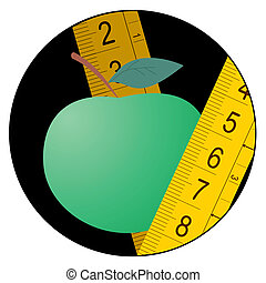 Green apple diet icon - Creative design of green apple diet...