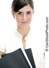 smiling lady with files