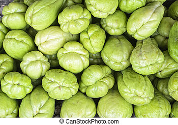 Closeup Of Stack Of Sayote In A Vegetable Market Stock Photo ...