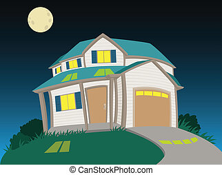 Sweet house at night