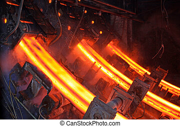 high temperature steel ingots in a workspace in China.