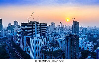 Bangkok, tailandia, construção, local, pôr do sol