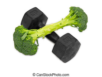 Dumbell made of Broccoli on white background
