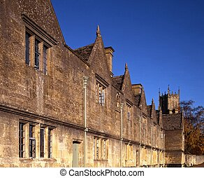Almshouses, Chipping Campden. - Almshouses with St. James...