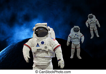 astronauts in the space background