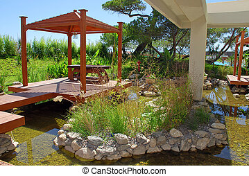landscape in east stile - Summer resort landscape with wood...