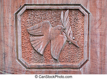 Dove of Peace, relief of stone - Dove with branch Dove of...