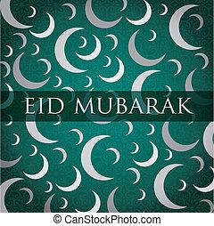 Eid Mubarak - SilverWhite gold crescent moon Eid Mubarak...